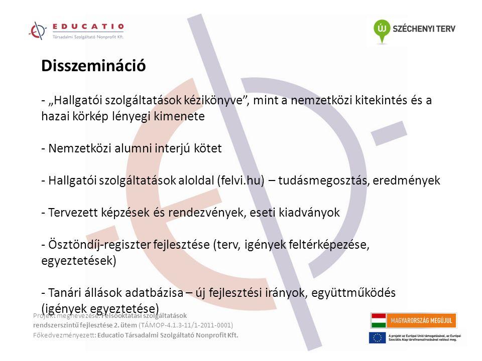 """Disszemináció - """"Hallgatói szolgáltatások kézikönyve , mint a nemzetközi kitekintés és a hazai körkép lényegi kimenete - Nemzetközi alumni interjú kötet - Hallgatói szolgáltatások aloldal (felvi.hu) – tudásmegosztás, eredmények - Tervezett képzések és rendezvények, eseti kiadványok - Ösztöndíj-regiszter fejlesztése (terv, igények feltérképezése, egyeztetések) - Tanári állások adatbázisa – új fejlesztési irányok, együttműködés (igények egyeztetése) Projekt megnevezése: Felsőoktatási szolgáltatások rendszerszintű fejlesztése 2."""