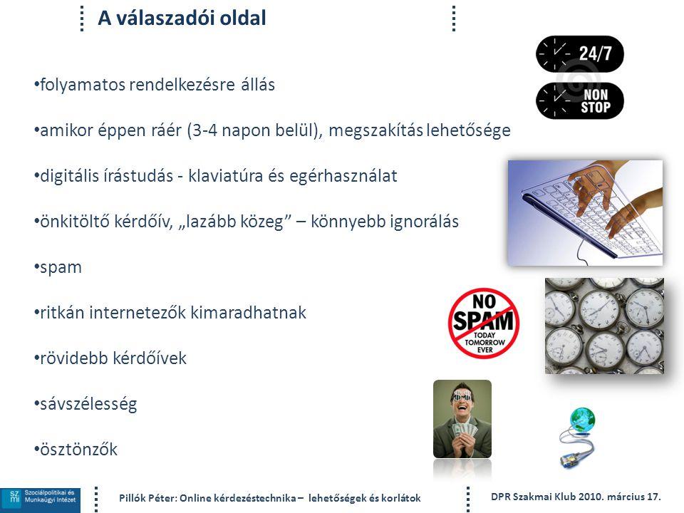 Pillók Péter: Online kérdezéstechnika – lehetőségek és korlátok DPR Szakmai Klub 2010.
