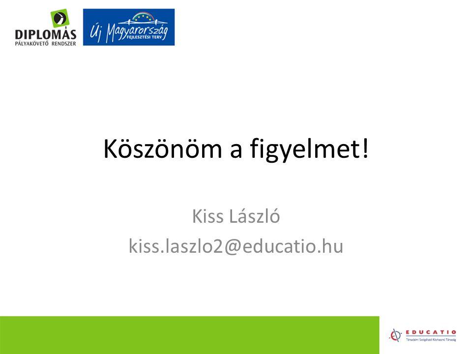 Köszönöm a figyelmet! Kiss László kiss.laszlo2@educatio.hu