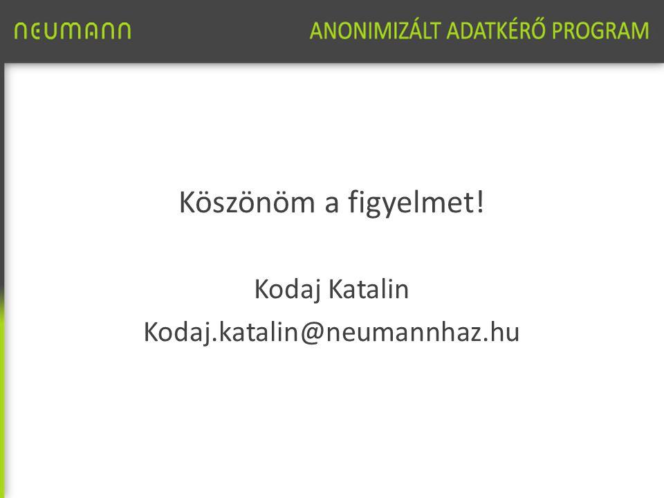 Köszönöm a figyelmet! Kodaj Katalin Kodaj.katalin@neumannhaz.hu