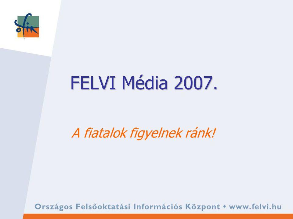 Médiaértékesítés az OFIKnál 2005-ben indult, elsősorban az online és a nyomtatott médiában 2006-tól adatbázisok reklámcélú felhasználása is Legnagyobb hirdetőink 8 számjegyű összeget költöttek idén 2007-ben rendezvényt is szervezünk a felvételizőknek