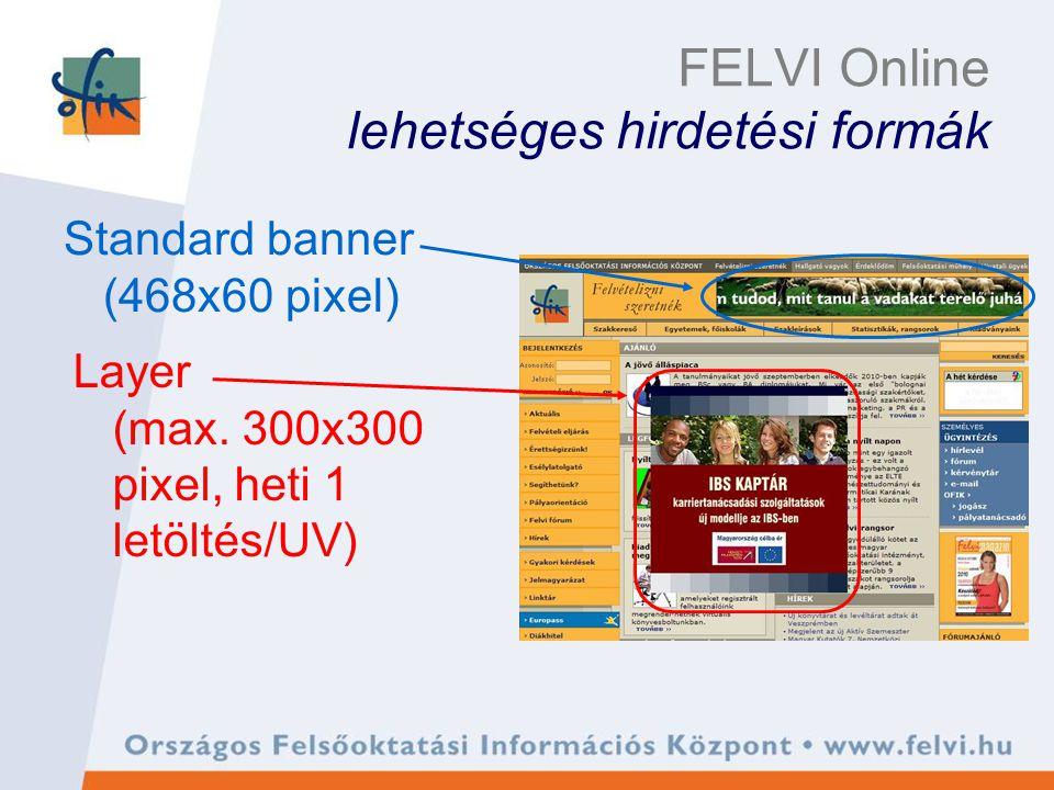 FELVI Online lehetséges hirdetési formák Standard banner (468x60 pixel) Layer (max.
