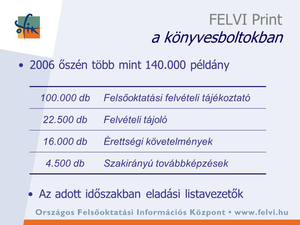 FELVI Print a könyvesboltokban 2006 őszén több mint 140.000 példány 100.000 dbFelsőoktatási felvételi tájékoztató 22.500 dbFelvételi tájoló 16.000 dbÉrettségi követelmények 4.500 dbSzakirányú továbbképzések Az adott időszakban eladási listavezetők