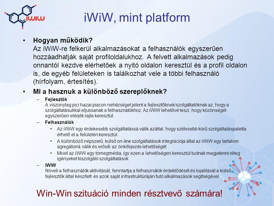 iWiW alkalmazások 2009 április végén indult Jelenleg 56 különböző alkalmazás érhető el A három legnépszerűb: Egymás szemében (1,2M felhasználó) Csajok és Pasik (270 ezer felhasználó) Videotelefon (95 ezer felhasználó) Naponta kb.