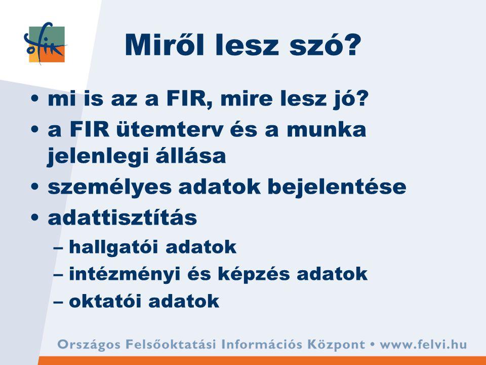 Miről lesz szó. mi is az a FIR, mire lesz jó.