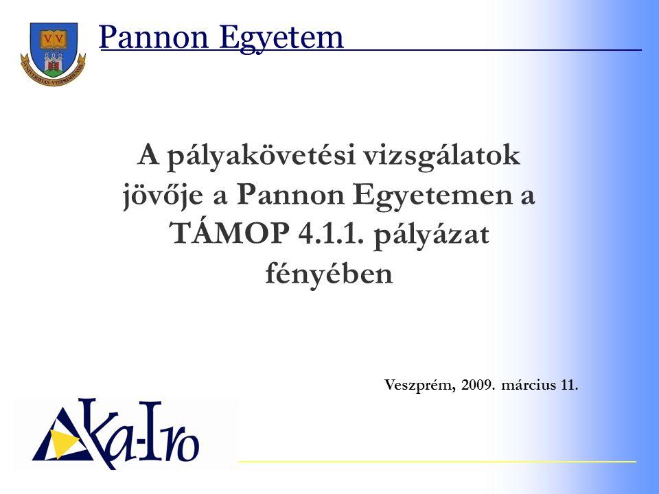 Pannon Egyetem A pályakövetési vizsgálatok jövője a Pannon Egyetemen a TÁMOP 4.1.1.