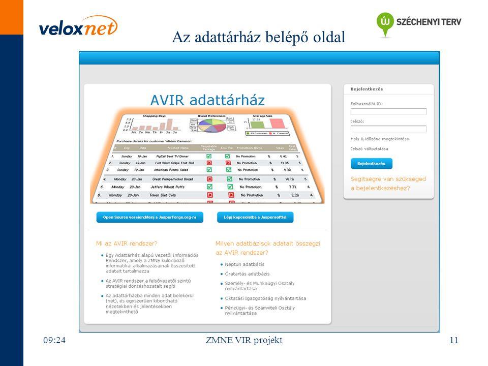 09:26ZMNE VIR projekt11 Az adattárház belépő oldal