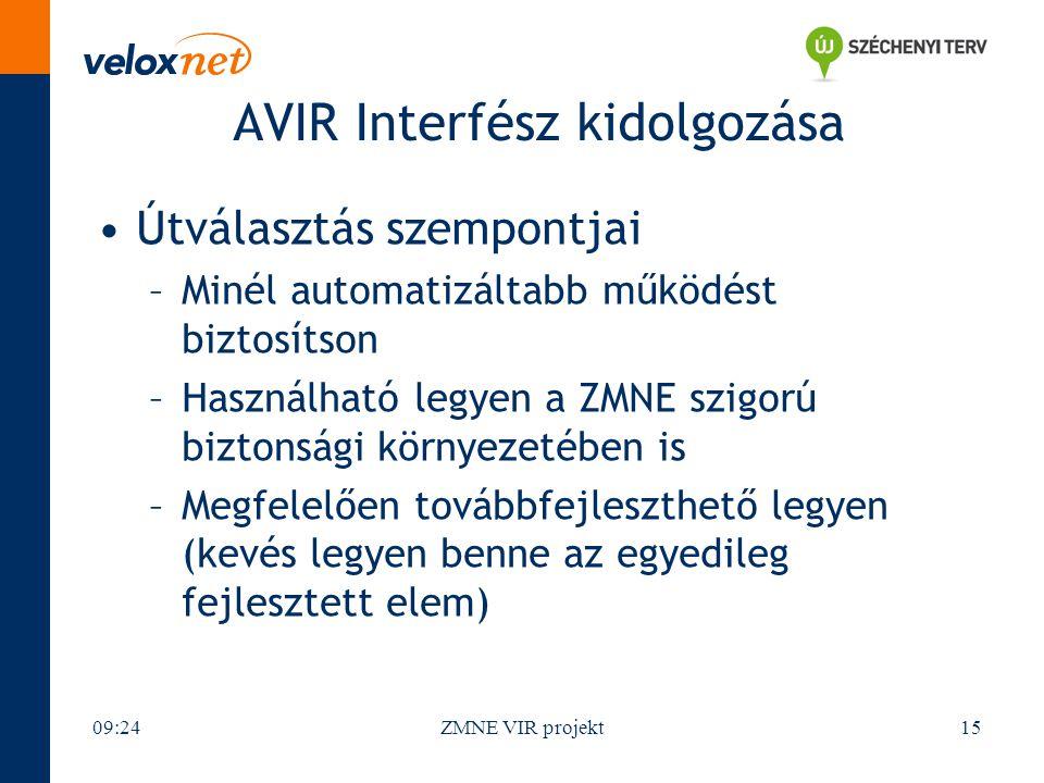 AVIR Interfész kidolgozása Útválasztás szempontjai –Minél automatizáltabb működést biztosítson –Használható legyen a ZMNE szigorú biztonsági környezet