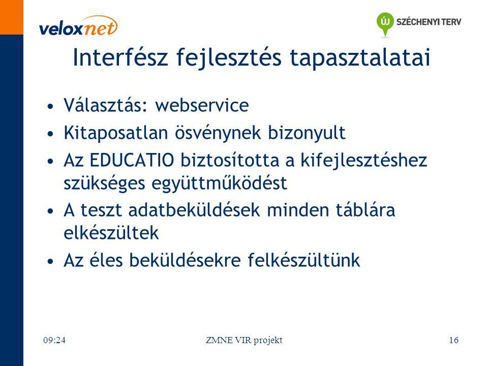 Interfész fejlesztés tapasztalatai Választás: webservice Kitaposatlan ösvénynek bizonyult Az EDUCATIO biztosította a kifejlesztéshez szükséges együttműködést A teszt adatbeküldések minden táblára elkészültek Az éles beküldésekre felkészültünk 09:26ZMNE VIR projekt16