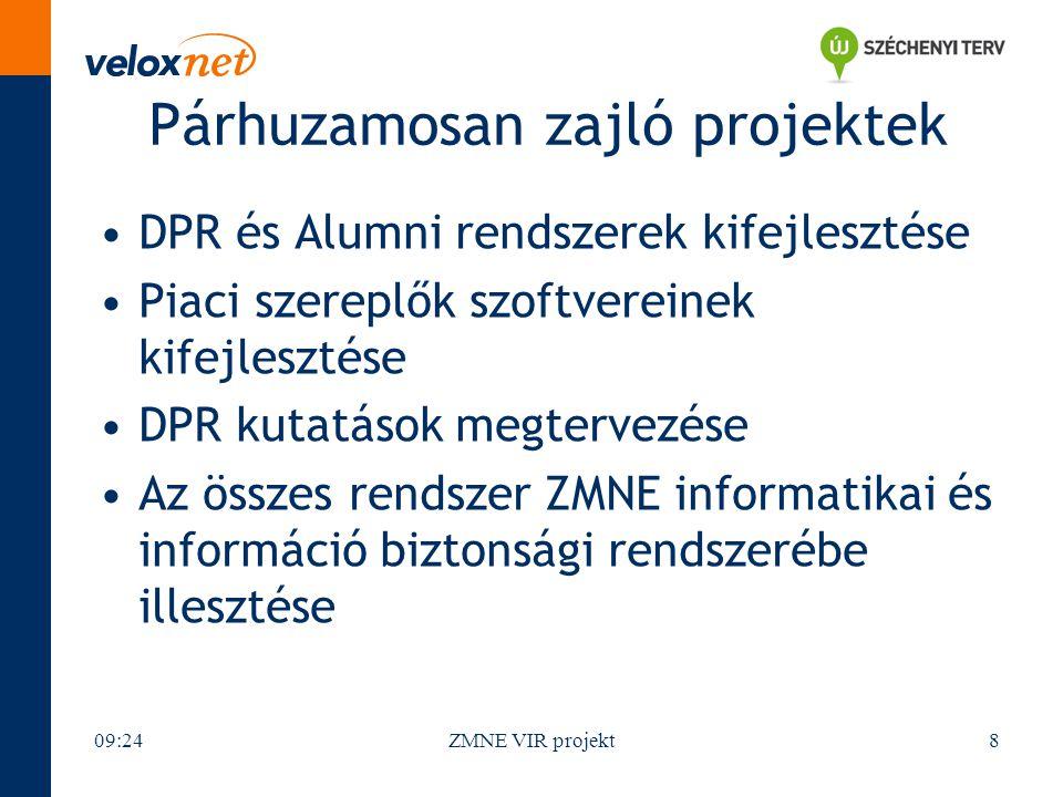 Párhuzamosan zajló projektek DPR és Alumni rendszerek kifejlesztése Piaci szereplők szoftvereinek kifejlesztése DPR kutatások megtervezése Az összes rendszer ZMNE informatikai és információ biztonsági rendszerébe illesztése 09:26ZMNE VIR projekt8