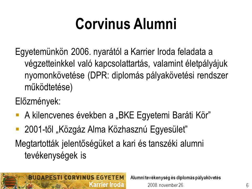 Karrier Iroda 2008. november 26. Alumni tevékenység és diplomás pályakövetés 6 Corvinus Alumni Egyetemünkön 2006. nyarától a Karrier Iroda feladata a