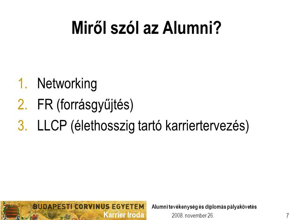 Karrier Iroda 2008. november 26. Alumni tevékenység és diplomás pályakövetés 7 Miről szól az Alumni? 1.Networking 2.FR (forrásgyűjtés) 3.LLCP (élethos