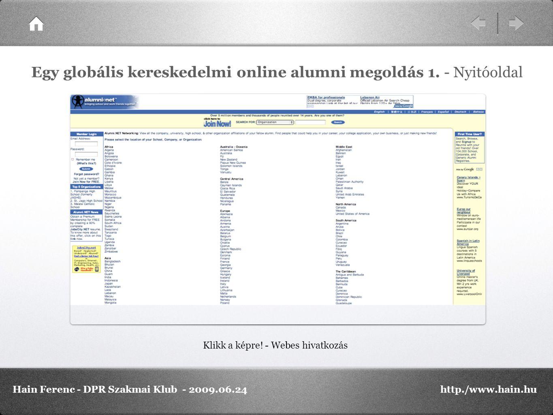 Klikk a képre! - Webes hivatkozás Egy globális kereskedelmi online alumni megoldás 1. - Nyitóoldal Hain Ferenc - DPR Szakmai Klub - 2009.06.24http./ww