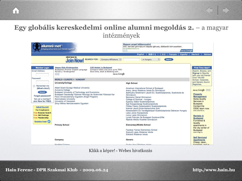 Klikk a képre! - Webes hivatkozás Egy globális kereskedelmi online alumni megoldás 2. – a magyar intézmények Hain Ferenc - DPR Szakmai Klub - 2009.06.