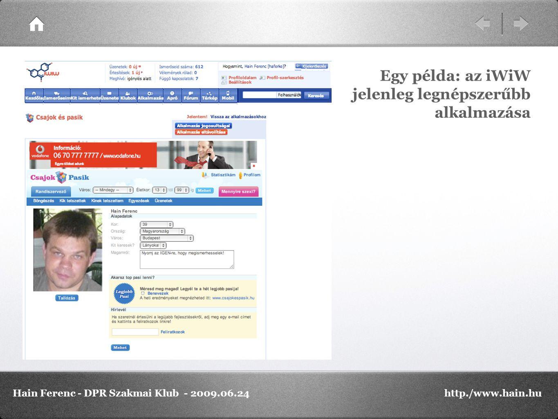 Egy példa: az iWiW jelenleg legnépszerűbb alkalmazása Hain Ferenc - DPR Szakmai Klub - 2009.06.24http./www.hain.hu