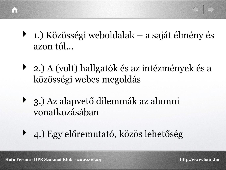 PROBLÉMÁK: A hallgatók nagyszámú elérése Az elért hallgatók megtartása / megfelelő szolgáltatás nyújtása A (volt) hallgatók megtartása, különösen az intézmény elhagyása után Ha el is érhetőek egy kereskedelmi alkalmazáson, hogyan hozzuk be őket a saját rendszerünkbe Hain Ferenc - DPR Szakmai Klub - 2009.06.24http./www.hain.hu