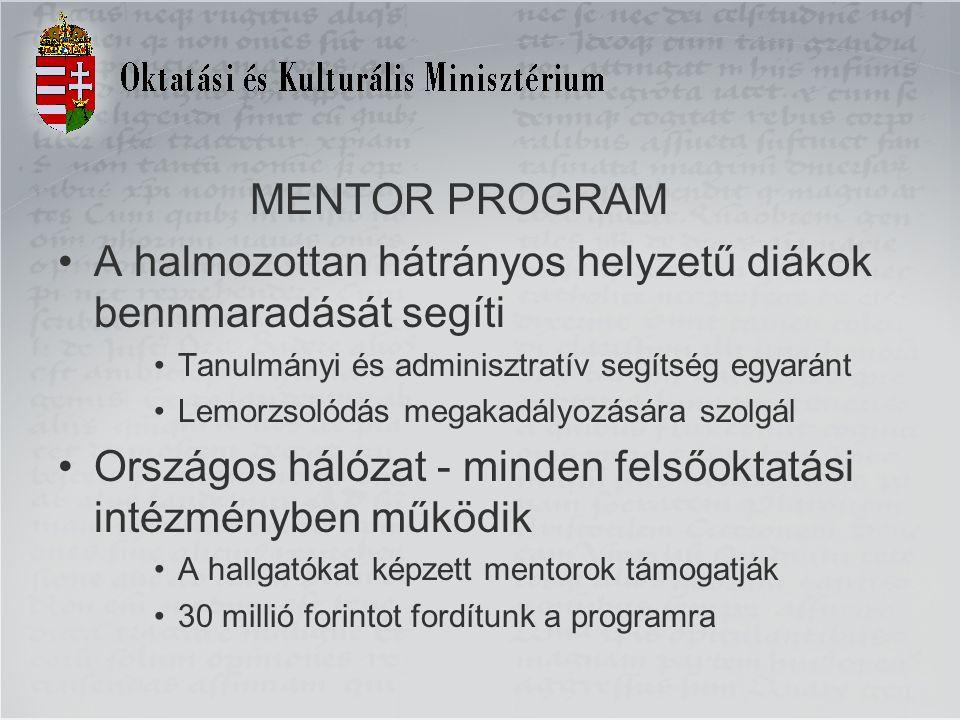 MENTOR PROGRAM A halmozottan hátrányos helyzetű diákok bennmaradását segíti Tanulmányi és adminisztratív segítség egyaránt Lemorzsolódás megakadályozására szolgál Országos hálózat - minden felsőoktatási intézményben működik A hallgatókat képzett mentorok támogatják 30 millió forintot fordítunk a programra