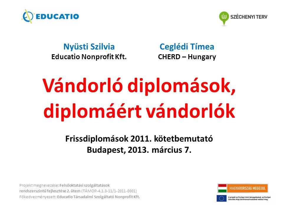 Vándorló diplomások, diplomáért vándorlók Frissdiplomások 2011. kötetbemutató Budapest, 2013. március 7. Projekt megnevezése: Felsőoktatási szolgáltat