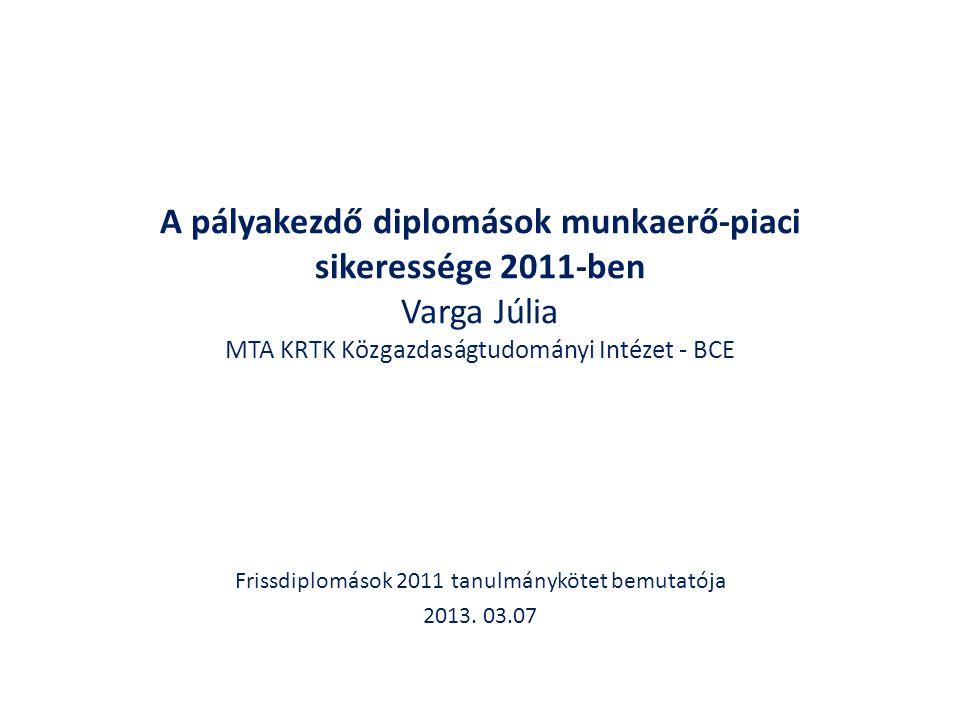 A pályakezdő diplomások munkaerő-piaci sikeressége 2011-ben Varga Júlia MTA KRTK Közgazdaságtudományi Intézet - BCE Frissdiplomások 2011 tanulmánykötet bemutatója 2013.