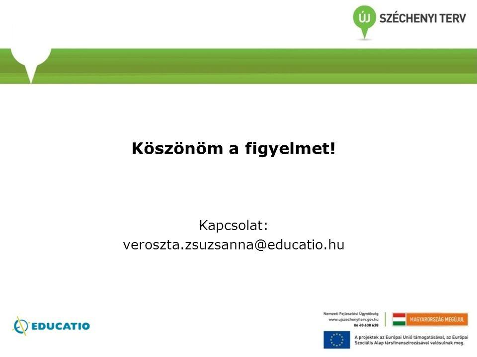 Köszönöm a figyelmet! Kapcsolat: veroszta.zsuzsanna@educatio.hu