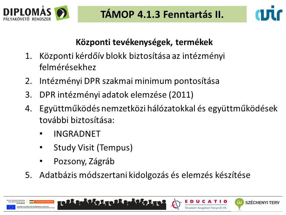 TAMOP 4.1.3 - 2.szakasz fejlesztések folytatása Tervezett indulás: 2012.