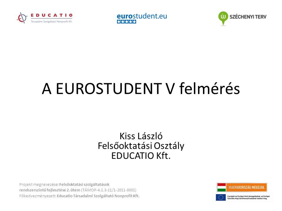 A EUROSTUDENT V felmérés Projekt megnevezése: Felsőoktatási szolgáltatások rendszerszintű fejlesztése 2.