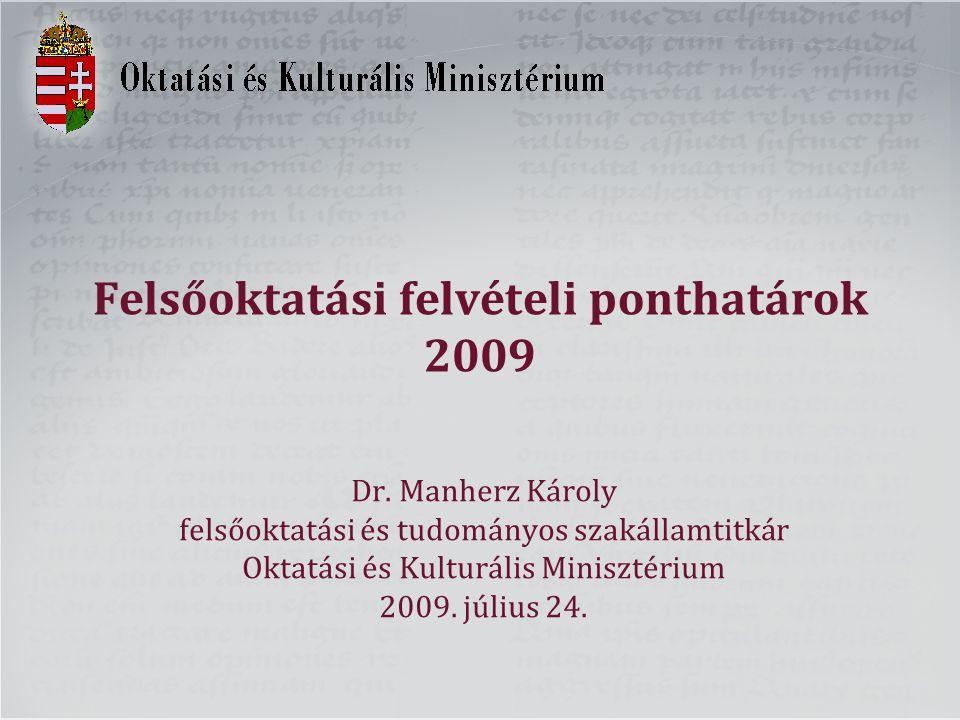 Felsőoktatási felvételi ponthatárok 2009 Dr. Manherz Károly felsőoktatási és tudományos szakállamtitkár Oktatási és Kulturális Minisztérium 2009. júli