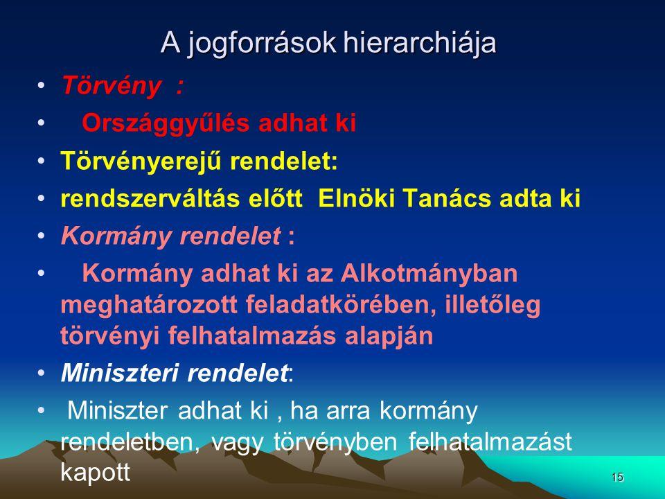 15 A jogforrások hierarchiája Törvény : Országgyűlés adhat ki Törvényerejű rendelet: rendszerváltás előtt Elnöki Tanács adta ki Kormány rendelet : Kor