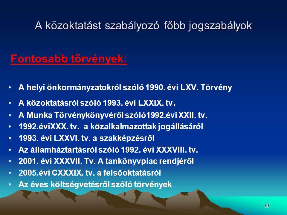 30 A közoktatást szabályozó főbb jogszabályok Fontosabb törvények: A helyi önkormányzatokról szóló 1990. évi LXV. Törvény A közoktatásról szóló 1993.