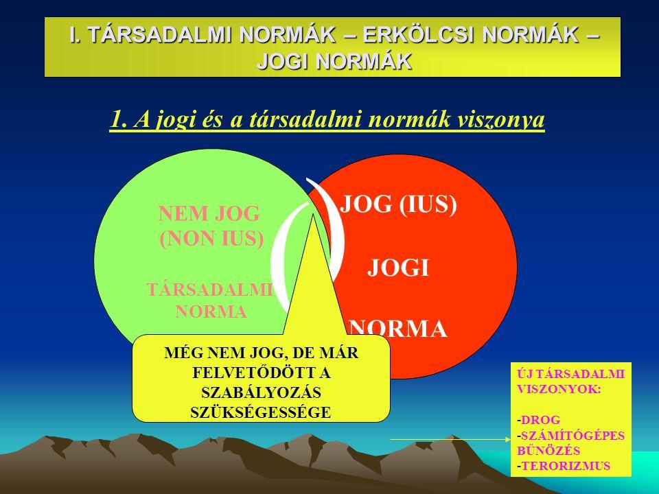 4 JOG (IUS) JOGI NORMA I. TÁRSADALMI NORMÁK – ERKÖLCSI NORMÁK – JOGI NORMÁK 1. A jogi és a társadalmi normák viszonya NEM JOG (NON IUS) TÁRSADALMI N