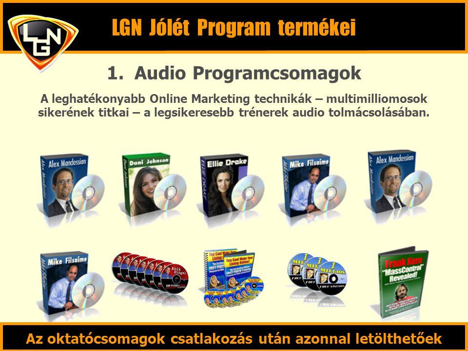 1. Audio Programcsomagok A leghatékonyabb Online Marketing technikák – multimilliomosok sikerének titkai – a legsikeresebb trénerek audio tolmácsolásá