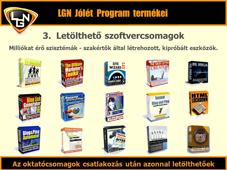 3. Letölthető szoftvercsomagok Milliókat érő szisztémák - szakértők által létrehozott, kipróbált eszközök. LGN Jólét Program termékei Az oktatócsomago