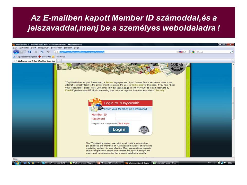 Az E-mailben kapott Member ID számoddal,és a jelszavaddal,menj be a személyes weboldaladra !
