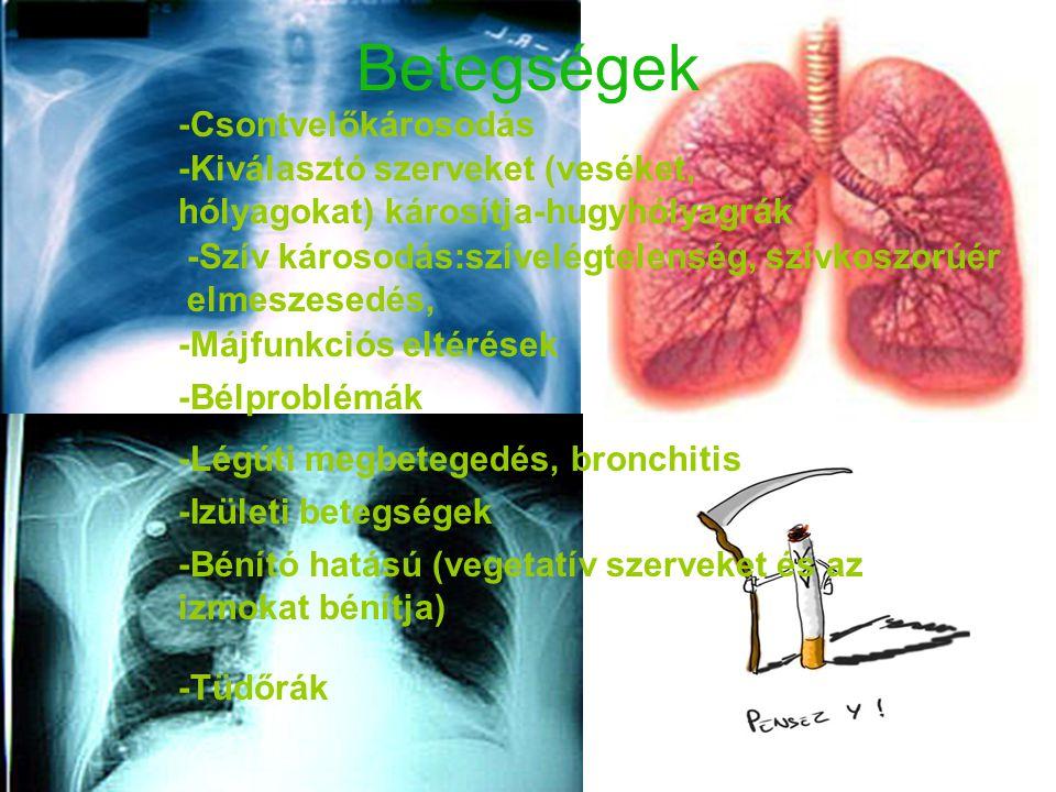 Betegségek -Kiválasztó szerveket (veséket, hólyagokat) károsítja-hugyhólyagrák -Szív károsodás:szívelégtelenség, szívkoszorúér elmeszesedés, -Légúti m