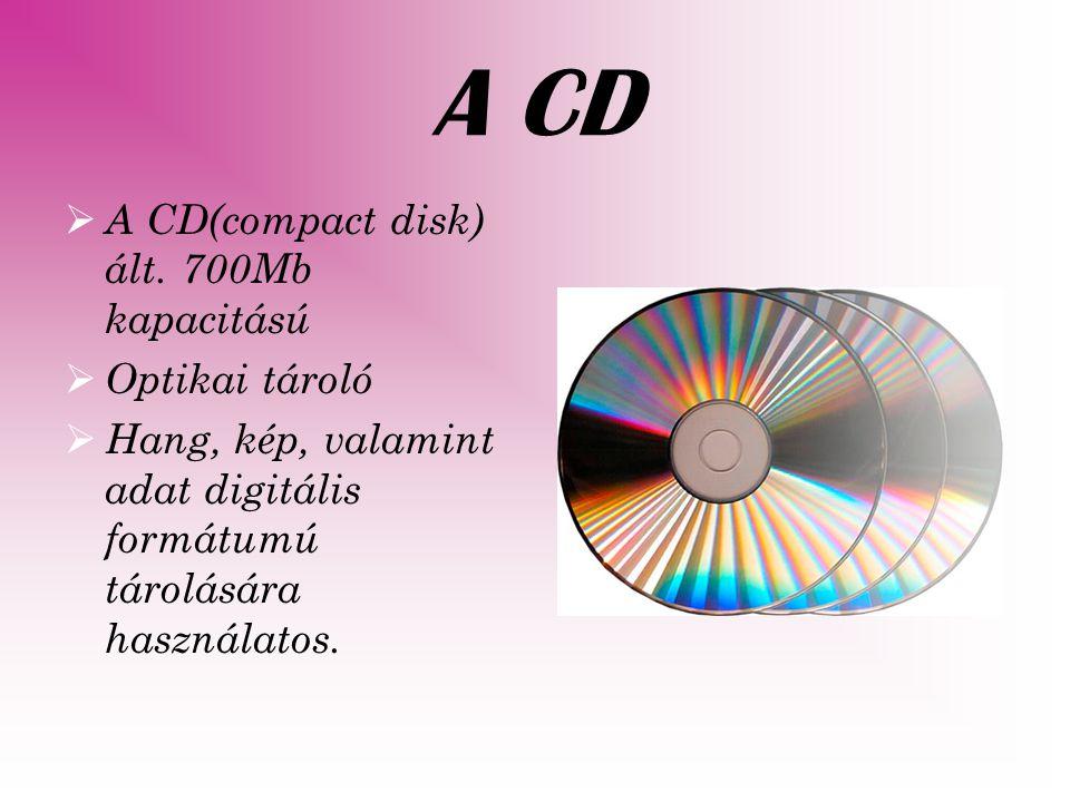 A CD-k fajtái a következ ő k:  CD-DA (CD-Digital Audio, hanganyag tárolására)  CD-ROM (adat, préselt)  CD-R (írható)  CD-RW (újraírható)