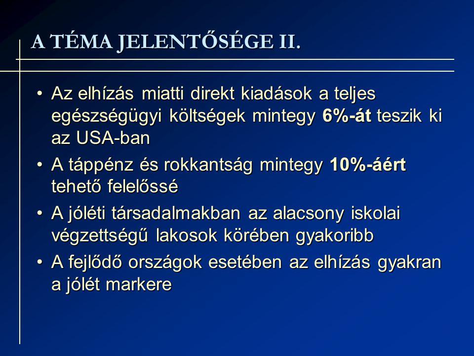 A TÉMA JELENTŐSÉGE II.A TÉMA JELENTŐSÉGE II.