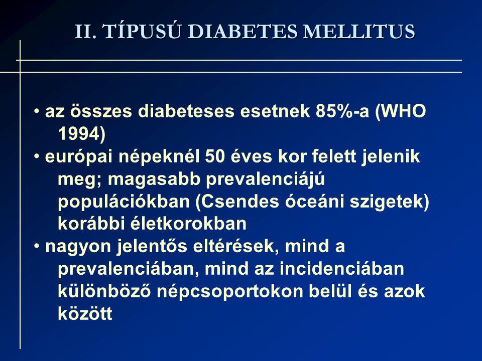 II. TÍPUSÚ DIABETES MELLITUS az összes diabeteses esetnek 85%-a (WHO 1994) európai népeknél 50 éves kor felett jelenik meg; magasabb prevalenciájú pop