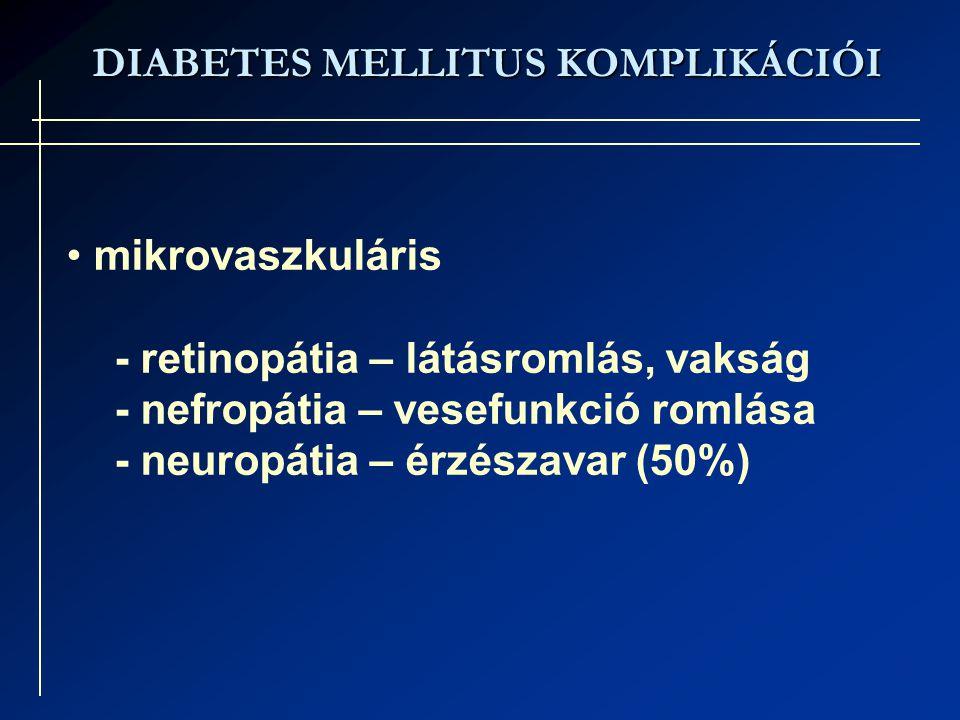 DIABETES MELLITUS KOMPLIKÁCIÓI mikrovaszkuláris - retinopátia – látásromlás, vakság - nefropátia – vesefunkció romlása - neuropátia – érzészavar (50%)