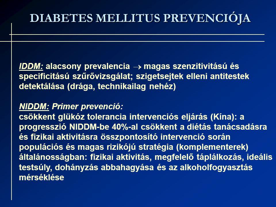 DIABETES MELLITUS PREVENCIÓJA IDDM: alacsony prevalencia  magas szenzitivitású és specificitású szűrővizsgálat; szigetsejtek elleni antitestek detektálása (drága, technikailag nehéz) NIDDM: Primer prevenció: csökkent glükóz tolerancia intervenciós eljárás (Kína): a progresszió NIDDM-be 40%-al csökkent a diétás tanácsadásra és fizikai aktivitásra összpontosító intervenció során populációs és magas rizikójú stratégia (komplementerek) általánosságban: fizikai aktivitás, megfelelő táplálkozás, ideális testsúly, dohányzás abbahagyása és az alkoholfogyasztás mérséklése