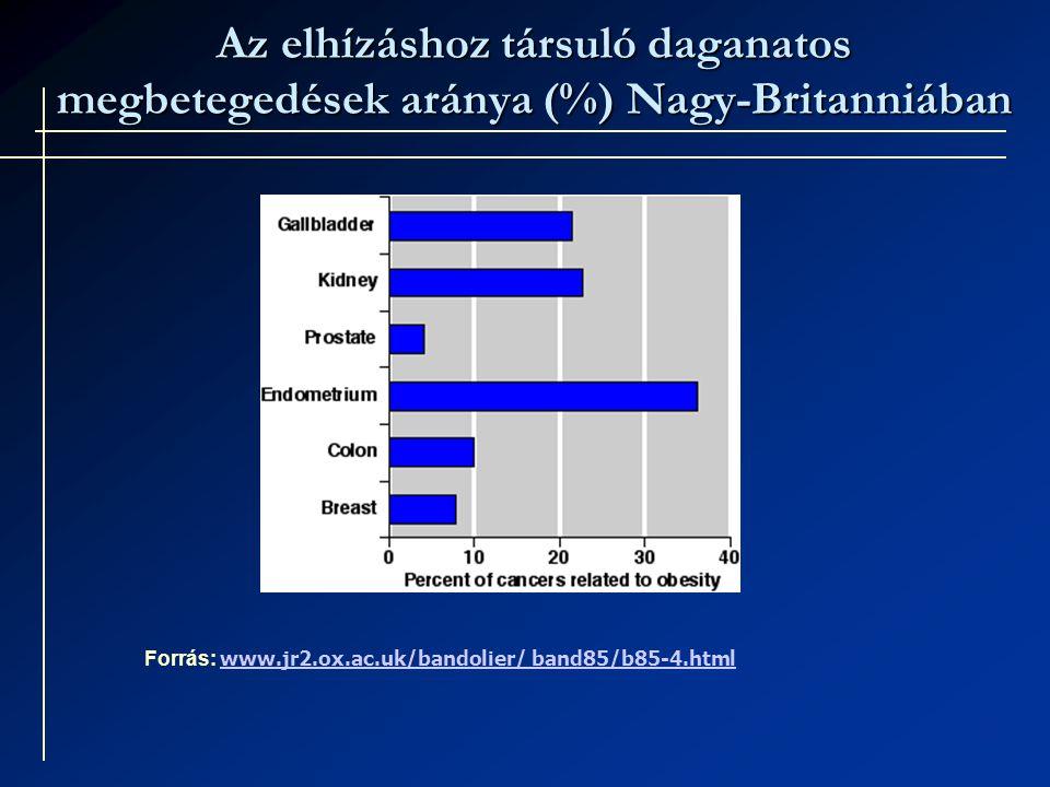 Az elhízáshoz társuló daganatos megbetegedések aránya (%) Nagy-Britanniában Forrás: www.jr2.ox.ac.uk/bandolier/ band85/b85-4.html www.jr2.ox.ac.uk/bandolier/ band85/b85-4.html