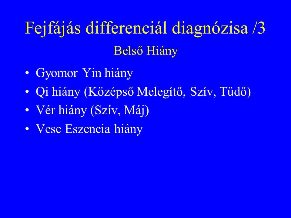 Fejfájás differenciál diagnózisa /3 Belső Hiány Gyomor Yin hiány Qi hiány (Középső Melegítő, Szív, Tüdő) Vér hiány (Szív, Máj) Vese Eszencia hiány