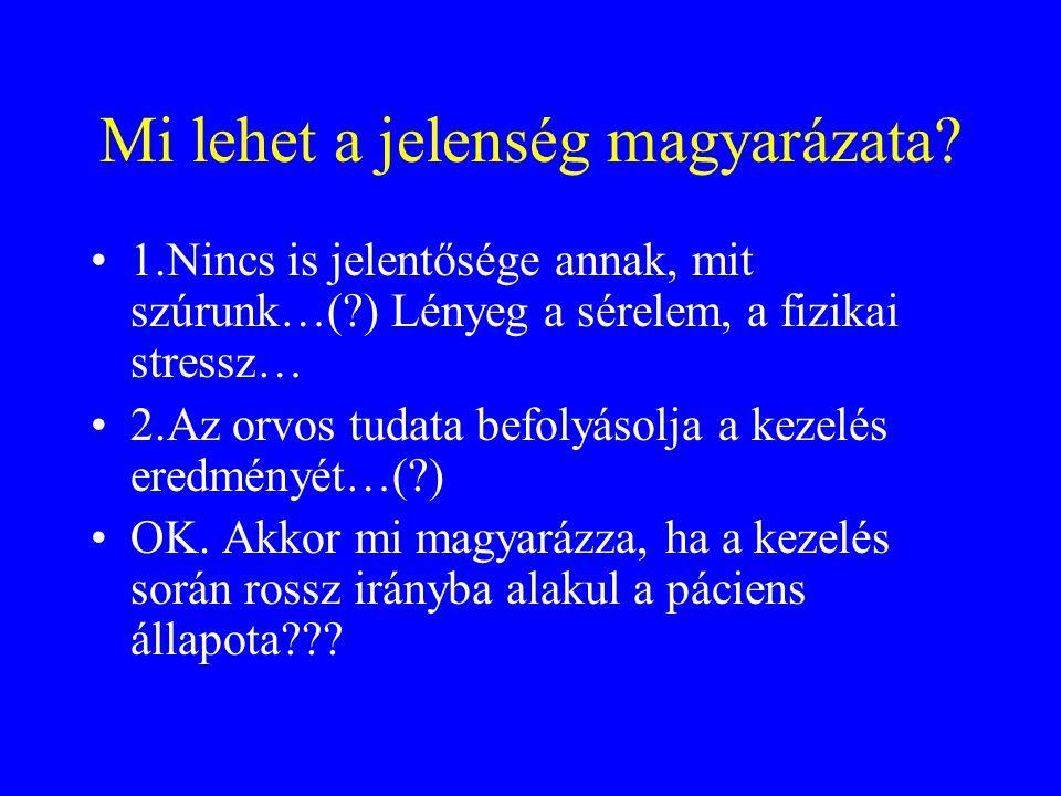 1.Nincs is jelentősége annak, mit szúrunk…(?) Lényeg a sérelem, a fizikai stressz… 2.Az orvos tudata befolyásolja a kezelés eredményét…(?) OK.