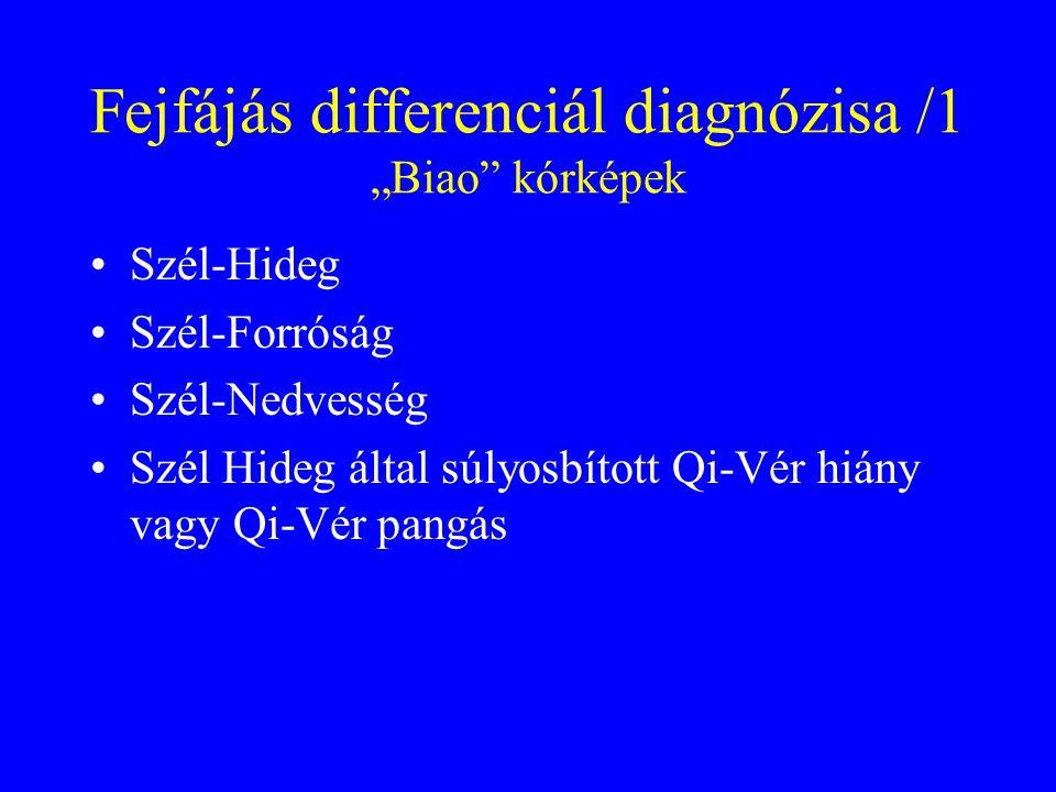 """Fejfájás differenciál diagnózisa /1 """"Biao kórképek Szél-Hideg Szél-Forróság Szél-Nedvesség Szél Hideg által súlyosbított Qi-Vér hiány vagy Qi-Vér pangás"""