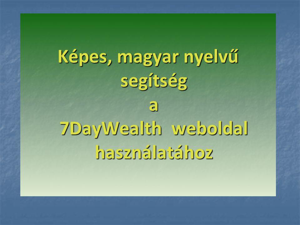 Képes, magyar nyelvű segítség a 7DayWealth weboldal használatához