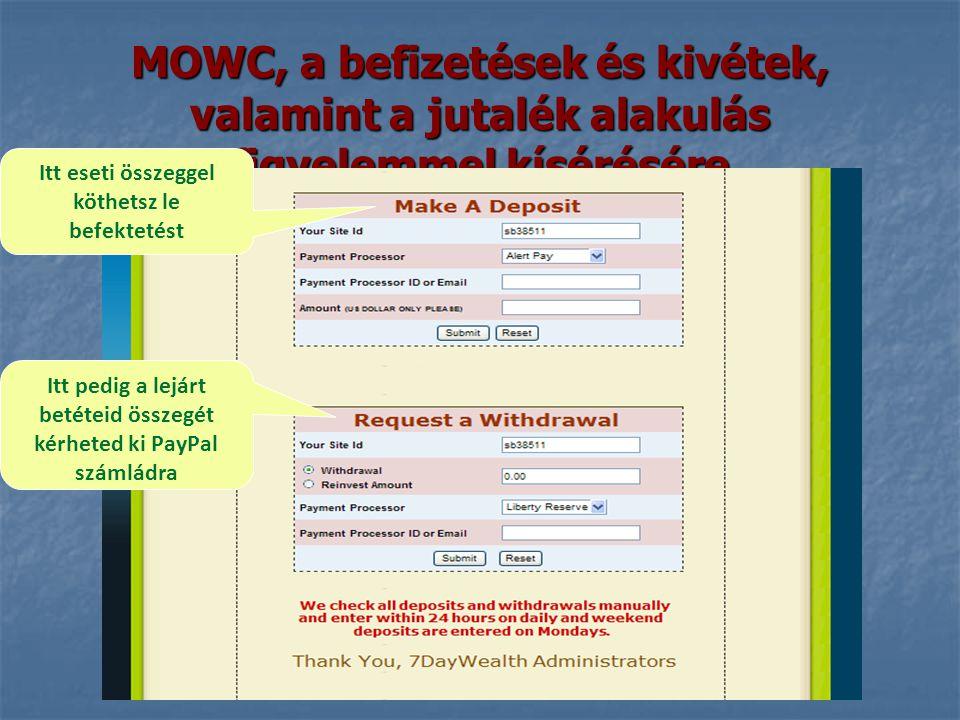 MOWC, a befizetések és kivétek, valamint a jutalék alakulás figyelemmel kísérésére Itt eseti összeggel köthetsz le befektetést Itt pedig a lejárt betéteid összegét kérheted ki PayPal számládra