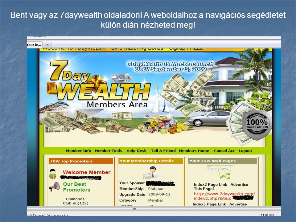 Bent vagy az 7daywealth oldaladon! A weboldalhoz a navigációs segédletet külön dián nézheted meg!