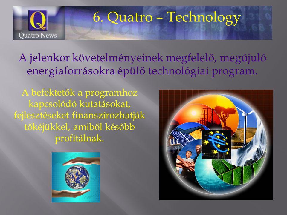6. Quatro – Technology A jelenkor követelményeinek megfelelő, megújuló energiaforrásokra épülő technológiai program. A befektetők a programhoz kapcsol