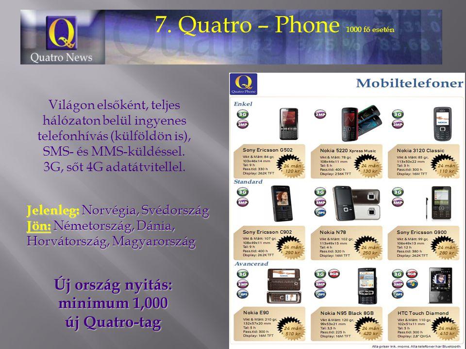 7. Quatro – Phone 1000 fő esetén Világon elsőként, teljes hálózaton belül ingyenes telefonhívás (külföldön is), SMS- és MMS-küldéssel. 3G, sőt 4G adat
