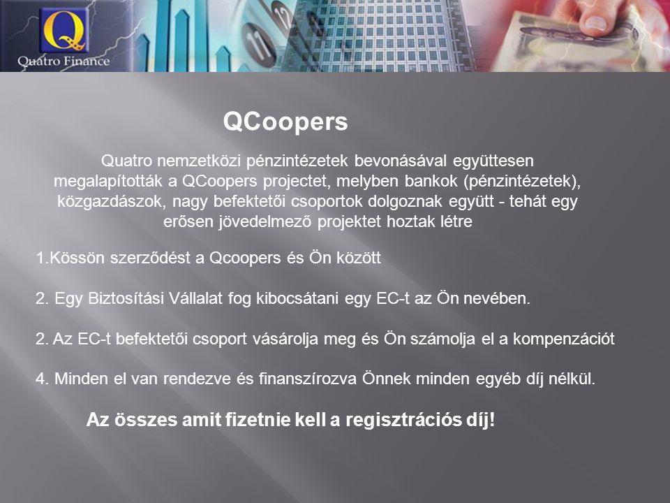 QCoopers 1.Kössön szerződést a Qcoopers és Ön között 2. Egy Biztosítási Vállalat fog kibocsátani egy EC-t az Ön nevében. 2. Az EC-t befektetői csoport