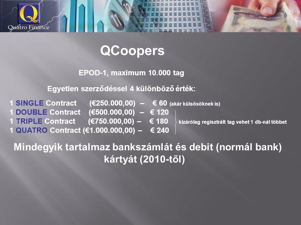 EPOD-1, maximum 10.000 tag QCoopers  Egyetlen szerződéssel 4 különböző érték: 1 SINGLE Contract (€250.000,00) – € 60 (akár külsősöknek is) 1 DOUBLE C